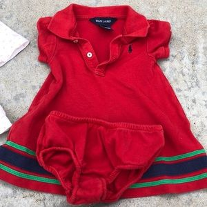 Ralph Lauren red baby dress with diaper cover